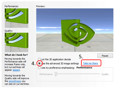 Use the advance 3D image setting