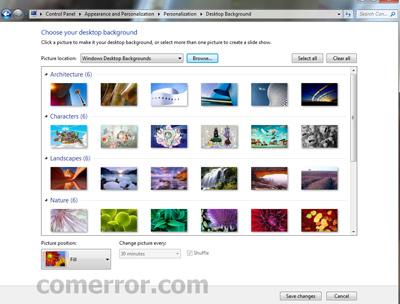 วิธีเปลี่ยนรูปภาพ desktop background บน windows 7