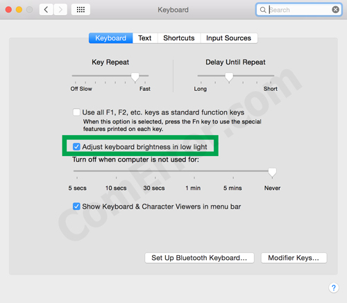 วิธีเปิด-ปิดเซ็นเซอร์ตรวจวัดแสงคีย์บอร์ด Macbook