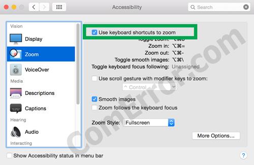วิธีตั้งค่าคีย์ลัดปุ่ม zoom บน Mac OS X โดยไม่ต้องลงโปรแกรมเพิ่ม