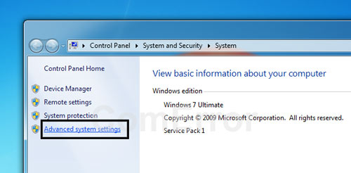 คลิกที่ Advanced system settings เพื่อเปิดแท็บ System properties