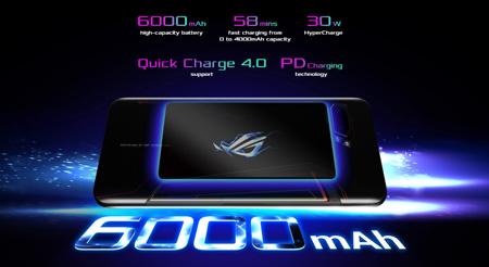 แบตเตอรี่ 6000mAh พร้อม ROG HyperCharge 30W รองรับระบบชาร์จ QC 4.0 และเทคโนโลยี PD Charging