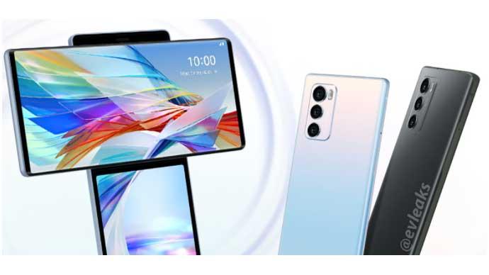 ภาพเรนเดอร์ของสมาร์ทโฟน LG Wing โชว์ให้เห็นหน้าจอหมุนได้เป็นรูปตัว T มาพร้อมกล้องหลัง 3 ตัว