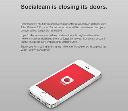 ประกาศปิดตัวโซเชียลแคม (SocialCam) แอพแชร์คลิบชื่อดัง