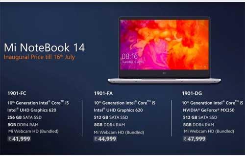 Xiaomi Mi NoteBook 14 เปิดตัวอย่างเป็นทางการในประเทศอินเดีย มาพร้อมกับ CPU Intel Gen 10 , GPU MX250 และราคาสบายกระเป๋า