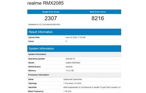 Realme X3 โผล่ทดสอบประสิทธิภาพบน Geekbench มาพร้อม RAM ขนาด 12GB