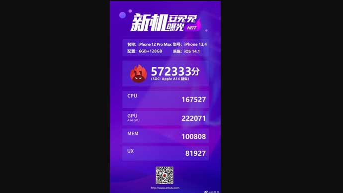 หลุด!! คะแนนทดสอบประสิทธิภาพของ iPhone 12 Pro Max จาก AnTuTu พบว่าได้ 572,333  คะแนน มีประสิทธิภาพเพิ่มขึ้นเพียงเล็กน้อย